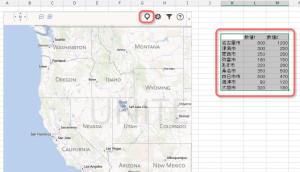 データの入った表を選択し、地図に挿入する