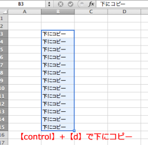 【control】+【d】で下へコピー