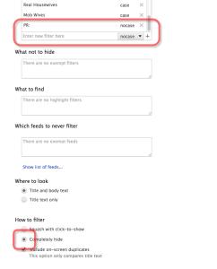 Reader Filter のフィルターの設定