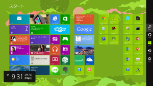 Windows8のスタート画面でチャームを呼び出す