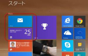 Widnows8のスタート画面で目立っているメールとカレンダー